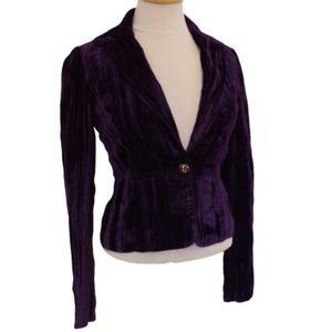 Marciano Crushed Velvet Royal Purple Blazer- Sz. 0